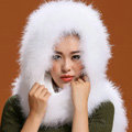 Ostrich wool fur scarf vogue women winter warm hats Headscarf neck wraps - White