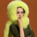Ostrich wool fur scarf vogue women winter warm hats Headscarf neck wraps - Yellow