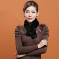 Rex rabbit fur scarf fashion women winter warm scarves female neck wrap - Black