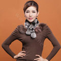 Rex rabbit fur scarf fashion women winter warm scarves female neck wrap - Grey