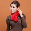Rex rabbit fur scarf fashion women winter warm scarves female neck wrap - Red