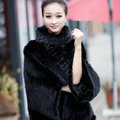 Winter Fashion Women's Genuine Knitting Mink Fur Shawls Wraps Warm tippet capes - Black