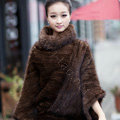 Winter Fashion Women's Genuine Knitting Mink Fur Shawls Wraps Warm tippet capes - Brown
