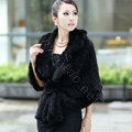 Winter Women's Genuine Knitting Mink Fur Shawls Warm Wraps Female Slim Poncho - Black