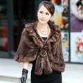 Winter Women's Genuine Knitting Mink Fur Shawls Warm Wraps Female Slim Poncho - Brown