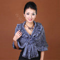 Winter Women's Genuine Knitting Mink Fur Shawls Warm Wraps Female Slim Poncho - Grey
