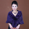 Winter Women's Genuine Knitting Mink Fur Shawls Warm Wraps Female Slim Poncho - Purple