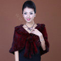 Winter Women's Genuine Knitting Mink Fur Shawls Warm Wraps Female Slim Poncho - Red