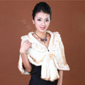 Winter Women's Genuine Knitting Mink Fur Shawls Warm Wraps Female Slim Poncho - White