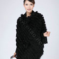Woman Fashion Genuine Knitted Rabbit Fur Poncho Winter Warm Wraps Hooded Shawls - Black