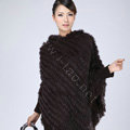 Woman Fashion Genuine Knitted Rabbit Fur Poncho Winter Warm Wraps Hooded Shawls - Coffee