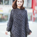 Woman Fashion Genuine Knitted Rabbit Fur Poncho Winter Warm Wraps Hooded Shawls - Grey