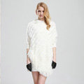 Woman Fashion Genuine Knitted Rabbit Fur Poncho Winter Warm Wraps Hooded Shawls - White