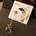 Classic fashion women exaggeration crystal ball flower long earrings gold plated - White