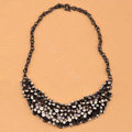 High-end fashion women choker exaggeration luxury Daisy Crystal bib necklace - Black
