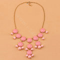 High-end fashion women choker sweet exaggeration luxury candy bib necklace - Pink