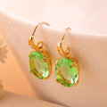 Luxury fashion women crystal diamond earrings 18k gold plated - Green