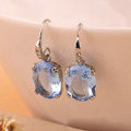 Luxury fashion women crystal diamond earrings 925 Silver - Blue