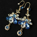 Luxury fashion women crystal diamond flower earrings 18k gold plated - Blue