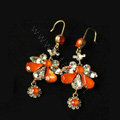 Luxury fashion women crystal diamond flower earrings 18k gold plated - Orange