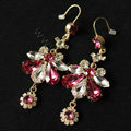 Luxury fashion women crystal diamond flower earrings 18k gold plated - Rose