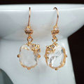 Luxury fashion women crystal diamond flower earrings 18k gold plated - White