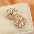 Luxury fashion women diamond crystal flower earrings 18k gold plated - White