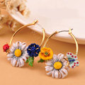 Luxury fashion women diamond crystal flower hoop earrings 18k gold plated - White