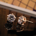 Luxury fashion women diamond crystal stud earrings 18k rose gold GP - White