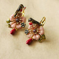 Luxury fashion women flower Bird crystal diamond earrings 18k gold plated - Pink