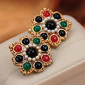 Luxury fashion women flower color gems pearls earrings 18k gold - Multicolor