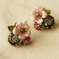 Luxury fashion women flower crystal diamond earrings 18k gold plated - Pink
