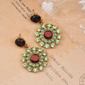 Luxury fashion women flower crystal diamond gems earrings - Green