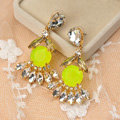 Luxury fashion women flower crystal diamond gems earrings - Yellow