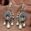 Luxury fashion women peacock crystal diamond earrings 18k gold plated - Multicolor