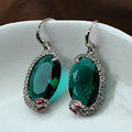 Luxury fashion women serpentine crystal diamond gems earrings - Green