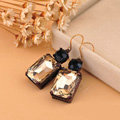 Luxury fashion women square crystal diamond earrings 18k gold - Champagne