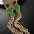 New fashion women triangle tassel chandelier dangle earrings gold plated - Green