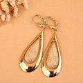 luxury fashion women matte drop earrings 18k gold - Gold