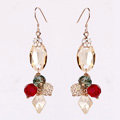 Luxury crystal bead diamond 925 sterling silver elegant dangle earrings - Champagne