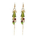 Luxury crystal bead diamond 925 sterling silver long tassel dangle earrings - Green
