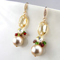 Luxury crystal bead diamond 925 sterling silver pearl dangle earrings - Champagne