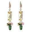 Luxury crystal bead diamond 925 sterling silver raindrop dangle earrings - Champagne