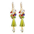 Luxury crystal diamond 925 sterling silver chandelier tassel dangle earrings - Green