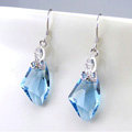 Luxury crystal diamond 925 sterling silver dangle earrings 4cm - Blue