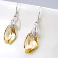 Luxury crystal diamond 925 sterling silver dangle earrings 4cm - Champagne