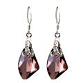 Luxury crystal diamond 925 sterling silver dangle earrings 4cm - Purple