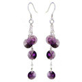 Luxury crystal diamond 925 sterling silver long tassel dangle earrings - Purple