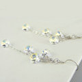 Luxury crystal diamond 925 sterling silver long tassel dangle earrings - White