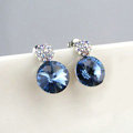 Luxury crystal diamond 925 sterling silver stud earrings 10mm - Blue